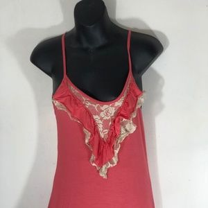 Lush Womens Top Size Small Coral with Ivory Lace